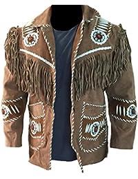 Classyak homme Cowboy, perles, Bones   de qualité supérieure à franges  Manteau 59563f6cfd3a