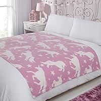 Dreamscene Fleece Blanket, 120 x 150 cm, Pink White Unicorn Stars, 120 x 150cm