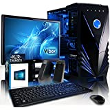 """VIBOX Scope Komplett-PC Paket 11 Gaming PC - 3,9GHz AMD A4 Dual-Core APU, GT 710 GPU, preiswerte, Desktop Gamer Computer mit Spielgutschein, 19"""" Monitor, Tastatur & Mouse Set (DE QWERTZ), Windows 10, Blau Innenbeleuchtung, lebenslange Garantie* (3,7GHz (3,9GHz Turbo) superschneller AMD A4-6300 Dual-Core-APU / CPU-Prozessor, Nvidia GeForce GT 710 1GB Grafikkarte GPU, 8GB DDR3 1600MHz RAM, 1TB (1000GB) SATA III HDD 7200rpm Festplatte, 400W 85+ Netzteil, Vibox blaues Gehäuse, FM2+ Mainboard)"""