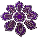 Handmade Designer Sunflower Shaped Voilet Rangoli - With Silver Stones Decorations And Golden Beads On Violet Round Shaped Plastic Base - 9 Pieces Set - Packed In Plastic Box
