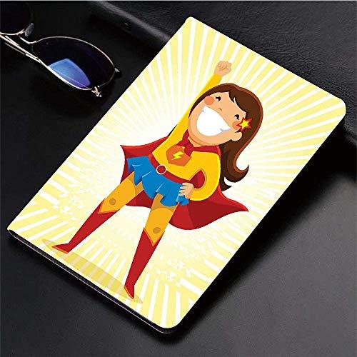 Yaoni Hülle für iPad (9,7 Zoll, Modell 2018/2017, 6. / 5. Generation),Superheld, mutiges kleines Mädchen mit einem gro,Ultra Slim Cover Schutzhülle PU Lederhülle/mit Auto Sleep Wake Up Funktion (Mädchen Kleine Für Superhelden)