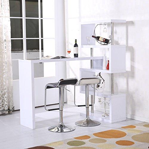 HOMCOM Modern High Gloss Bar Counter Beverage Table