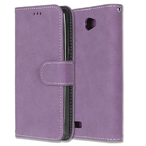Chreey LG Bello II/Bello 2 Hülle, Matt Leder Tasche Retro Handyhülle Magnet Flip Case mit Kartenfach Geldbörse Schutzhülle Etui [Lila]
