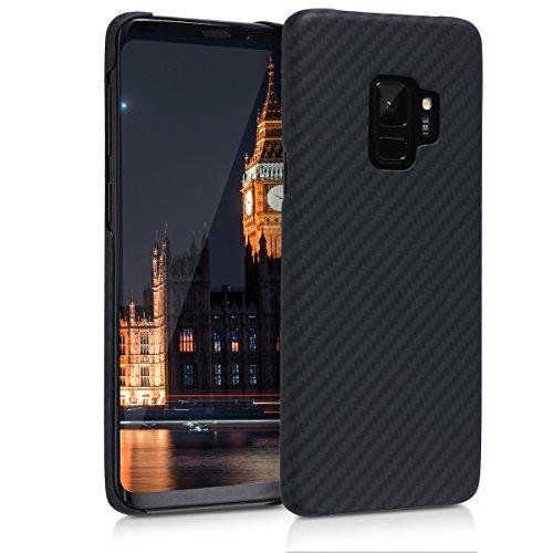 kalibri-Hlle-fr-Samsung-Galaxy-S9-Handy-Schutzhlle-Backcover-Aramid-Cover-Schwarz-matt