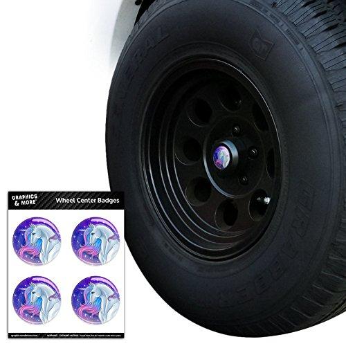 Majestic Unicorn pink violett blau Tire Rad Center Gap resin-topped Abzeichen Aufkleber–5,6cm (5,6cm) Durchmesser