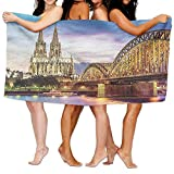 Funny Bath Towel European Cityscape Illuminated Dom in Cologne Old Bridge and Rhine at Sunset European Culture Soft Absorbent Beach Towel Pool Towel 30x50
