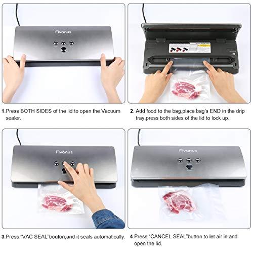 Vakuumierer Fivanus Vakuumiergerät DS-100 Folienschweißgeräte vakuumierer 30cm Schweißnaht für Lebensmittel, Fleisch,Früchte bis zu 6x Länger Frisch Inklusive 10 Folienbeutel - 5
