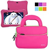 Evecase Dragon Touch 7-inch Quad Core Android Kids Tablet Neoprene Sleeve Case Slim Briefcase w/ Handle & Accessory Pocket / Ultra Portable Travel Carrying Case Sleeve Portfolio Pouch Cover - Hot pink