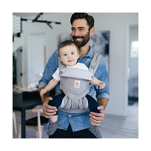 Ergobaby Baby Carrier up to 3 years (12-45 lbs) 360 Pearl Grey, 4 Ergonomic Carry Positions, Front Facing Baby Carrier, Child Carrier Backpack Ergobaby Ergonomic carrier with 4ergonomic carry positions: front-inward, back, hips, and front-outward. New - the waist belt with lumbar support can be worn a little higher or lower to support the lower back and provide optimal comfort, and has adjustable padded shoulder straps. Maximum baby comfort - the structured bucket seat supports the correct frog-leg position for the baby. 5