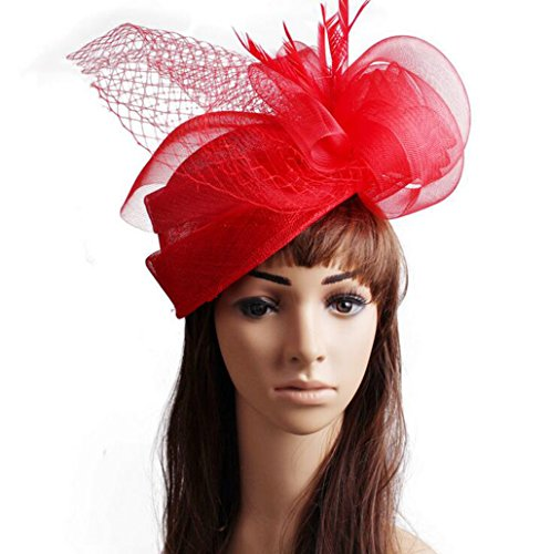 Lh$Yu Frauen Fascinator Hat Blume Federn Clip Cocktail -