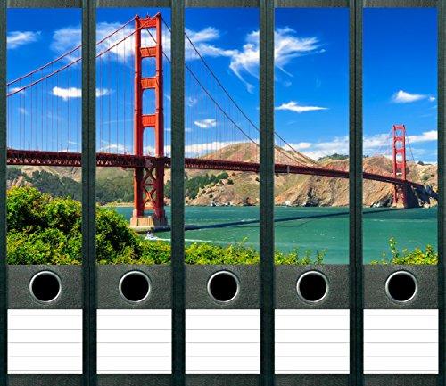 LYSCO 5 Stück Golden Gate Bridge Aufkleber für breite Ordnerrücken Ordneraufkleber Etiketten selbstklebend, Golden Gate Bridge, San Fransisco - Kalifornien