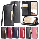 Handy schützen, Hülle Für Samsung Galaxy S8 S7 Kreditkartenfächer Geldbeutel mit Halterung Flipbare Hülle Ganzkörper-Gehäuse Volltonfarbe Hart PU-Leder für Samsung