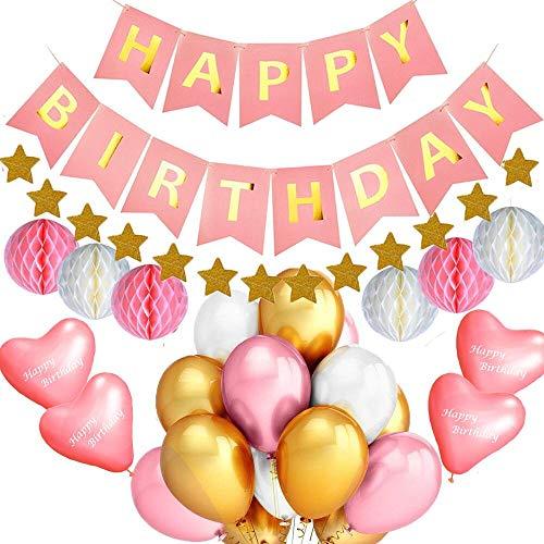 Life Treasure Geburtstag Dekoration, Happy Birthday Dekoration Kindergeburtstag Deko, 6 Papier Pom Poms, 30 Ballons, 1 Happy Birthday Wimpelgirlande für Mädchen (Pink)