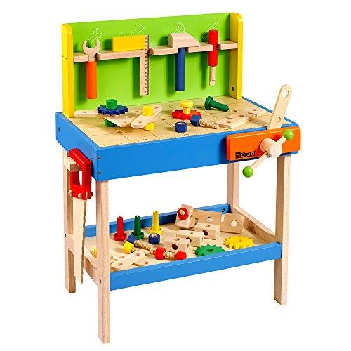 Howa Banco di Lavoro in Legno Profi per Bambini incl. 45 Accessori e 5 Attrezzi 4904