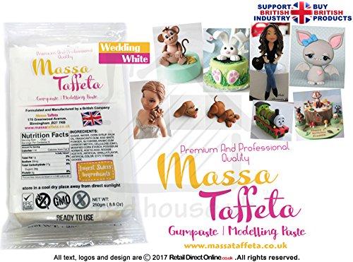 Massa Taft | Gum Paste | Modellierpaste | Blumen | Basis einfügen Weiß | 1kg | Kostenlose...