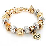 Hot and Bold Edition Gold Plated Heart Charms Stylish Bracelet. Designer Fashion Jewellery.