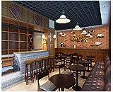 Apoart 3D Wandtapete Ursprüngliche Kaffeetasse-Backsteinmauer, Die Hintergrundwand Bearbeitet 350Cmx245Cm