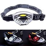 LED Headlight Headlamp, Lonshell Mini 6LED Camping Hiking Torch 3Mode Head Lamp Bulb White Red Flashlight 1PC (Black)