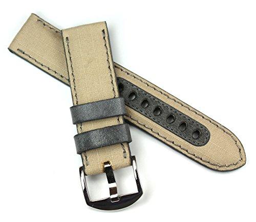 Sulla 22mm Herren Deutsch Canvas und Leder Uhrenarmband Militär Style Grau (Uhrenarmband Canvas Leder)