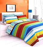 Reversible Zig Zag Stripes Duvet / Quilt Cover Bedding Set Printed Rainbow Jigsaw Stripes Yellow/ Blue/ Green/ Red/ White Striped Reversible Bedding (King)