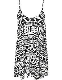 Plus Size Womens Printed Strappy Sleeveless Ladies Mini Dress Vest Top - 16-26