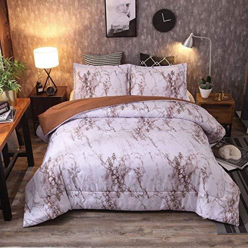 BabycarePro Tröster Sets Queen Khaki Marble Comforter Sets -