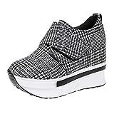 Lazzboy Damen Platform Sneaker Bequeme Plateau Freizeitschuhe Fitness(Schwarz,35)