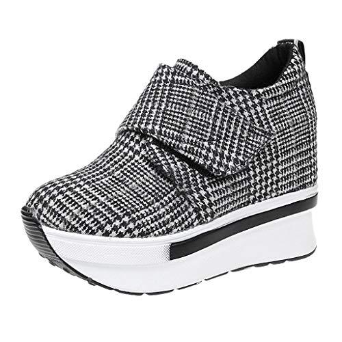 Toasye Womem's Casual Sneakers, Damen Plaid Print Wedges Ferse Versteckte Absatzschuhe