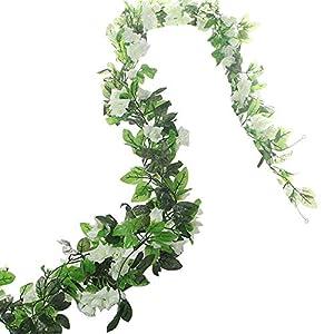 BlueXP 2 Stück 230cm Künstliche Blume Girlanden Kunstseide Rosen Blumen Girlande Simulation Hängende Dekoration Blumen und Blätter Dekor Zuhause Hochzeit Party Garten Faux Vine Rattan Weiß