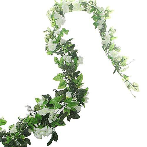 BlueXP 2 Stück 230cm Künstliche Blume Girlanden Kunstseide Rosen Blumen Girlande Simulation Hängende Dekoration Blumen und Blätter Dekor Zuhause Hochzeit Party Garten Faux Vine Rattan Weiß -