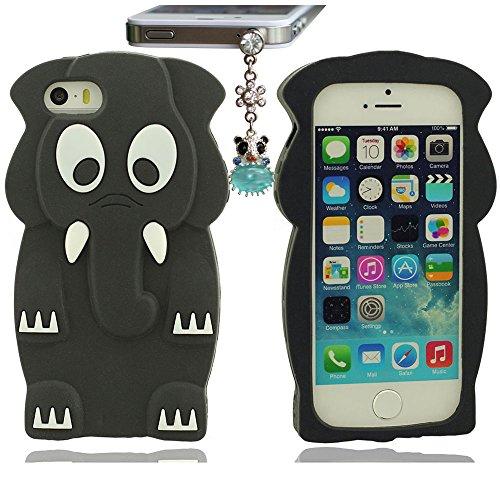 Bonne Sensation Tactile Créatif Conception Doux Silicone Gel Housse Case Coque Pour iPhone 5 5S 5C 5G Animal style (cute Elephant) Case Bumper Anti-Scratches+Jolie Pendentif Noir