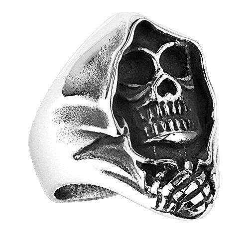 Piersando Herren Ring Edelstahl Massiv Breit Herrenring Männer Biker Rocker Silber mit Sensenmann Ghost Rider Größe 64 (20.4)