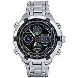 GAOHL Uhren Herren Sportuhren Dual Time Quarz Digitaluhr LED Stainess Stahlband Armbanduhren Reloj Hombre , black