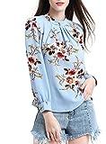 Abollria Womens Flower Print Long Sleeve Stand Collar Casual Chiffon Blouse Shirt Tops (Large, Light Blue)