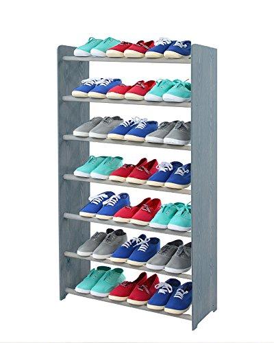 Schuhregal Schuhschrank Schuhe Schuhständer RBS-7-65 (Seiten dunkelgrau, Stangen in der Farbe grau)