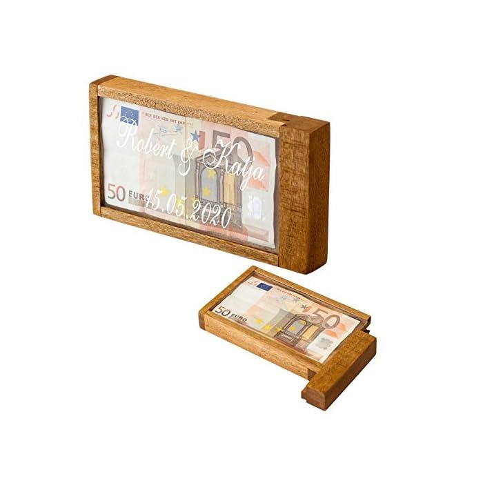 Geschenke 24: Magische Geldgeschenke Box mit Gravur - Wunschtext - graviertes Geldgeschenk - Denkspiel, Knobelspiel…