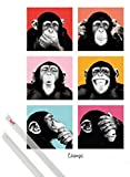 1art1 Poster + Hanger: Affen Poster (91x61 cm) Pop Art Schimpansen Porträts Inklusive Ein Paar Posterleisten, Transparent