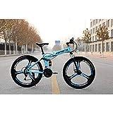 XER Mountain Bike Unisex, Bici Pieghevole a Doppia Sospensione 27 velocità, con Ruote a 3 Razze da 24 Pollici e Doppio Freno a Disco, per Uomo e Donna,Blue,21speed