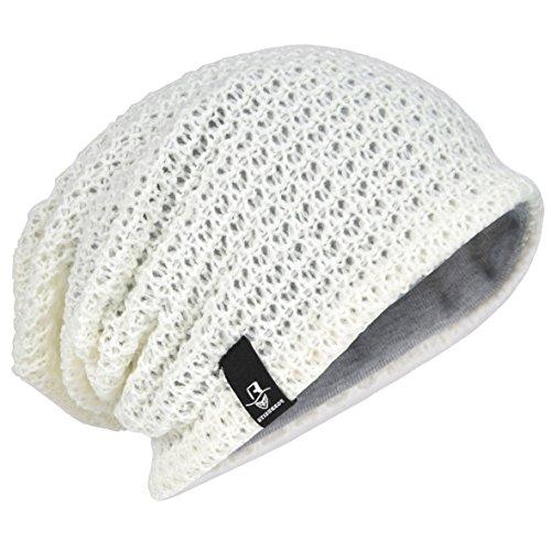 Herren Übergröße Beanie Slouch Schädel Kappe Stricken Winter Strickmütze B08 (Sahne) Crochet Skull Cap Hat