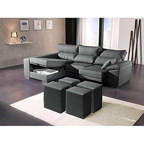 Sofá tres plazas con chaise longue arcón izquierda y cuatro puff. Varios colores