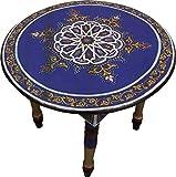 Casablanca Orient Orientalischer Wohnzimmertisch aus Zedernholz, Couchtisch, Beistelltisch, Teetisch, Deko-Tisch, 100% Marokkanische Handarbeit