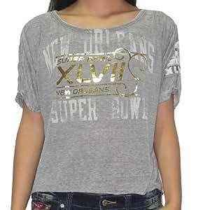 NFL Super Bowl XLVII New Orleans Saints Womens T-Shirt (Vintage Look) XL Grey