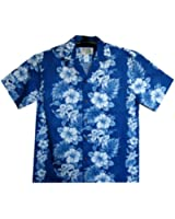 KY's | Original Hawaiian Shirt | For Men | S - 4XL | Short-Sleeve | Front-Pocket | Hawaiian-Print | Hawaiian Flowers | Blue