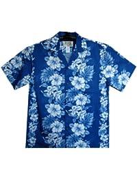 KY's| Chemise Hawaïenne D'Origine | Pour Hommes | S - 8XL | Manche Courte | Poche Avant | Hawaiian-Imprimer | Fleurs | Bleu