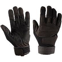 Guantes de dedo completo Mens Cycling gloves Guantes de moto de MTB de bicicleta de calle, moto, senderismo, camping, al aire libre (Color : Negro)