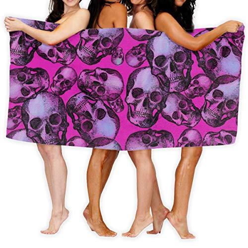 Strandtuch Pink Skulls Soft Lightweight Absorbent für Bad Schwimmbad Yoga Pilates Picknickdecke Handtücher