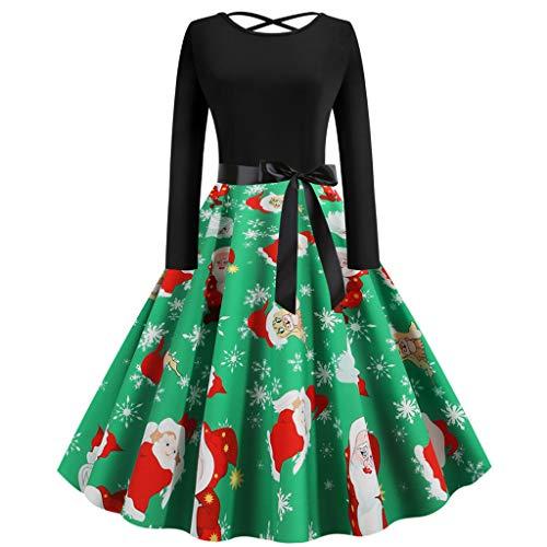 GATIK Damen Weihnachtskleider Vintage Langarm 1950er Jahre Hausfrau Abend Party Abendkleid Damen Bow Knot V-Ausschnitt Swing Aline Knielange Kleider(M,Grün)