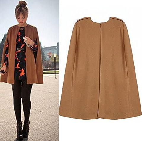 XJoel Frauen Batwing Kap Wolle Poncho Jacke Warm Umhang Mantel Khaki L (Calvin Klein Hemdkleid)