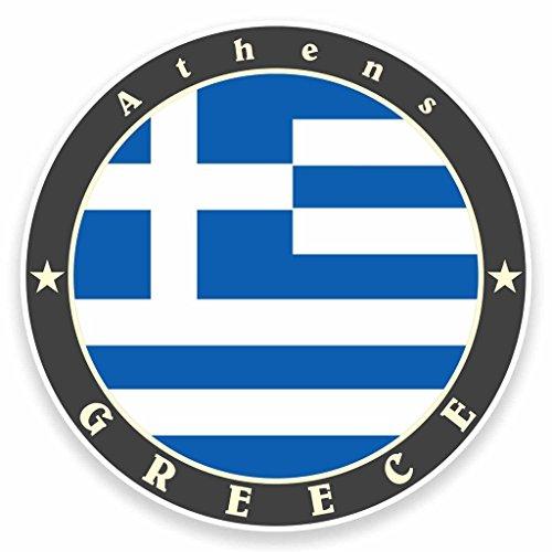 Preisvergleich Produktbild 2x Griechenland Athen Flagge Vinyl Aufkleber Aufkleber Laptop Auto Reise Gepäck Label Tag # 9512 - 10cm/100mm Wide