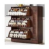 Schuhschrank, einfaches modernes Massivholz-große Kapazitäts-Multi-Layer-Schuhschrank Schuhregal Porch Kabinett, Shutter Tür Speicherschrank (Color : 3 layers)